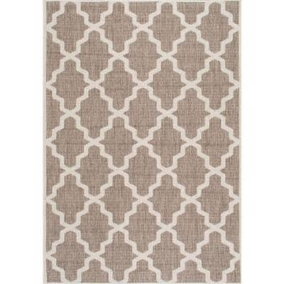 Machine Made Gina Outdoor Moroccan Trellis Taupe 8 ft. x 11 ft. Area Rug
