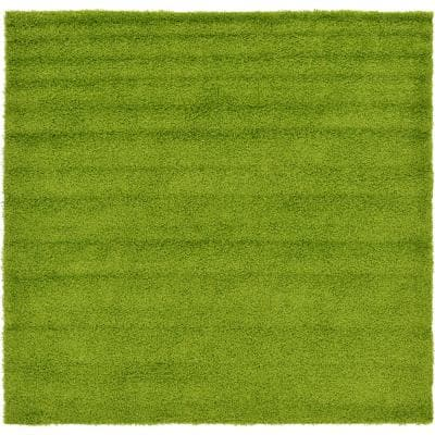 Solid Shag Grass Green 8 ft. Square Area Rug