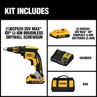 20-Volt MAX XR Cordless Brushless Drywall Screw Gun with (2) 20-Volt 2.0Ah Batteries & Charger