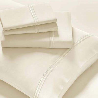 4-Piece Ivory Solid Modal Sateen Bed Queen Sheet Set
