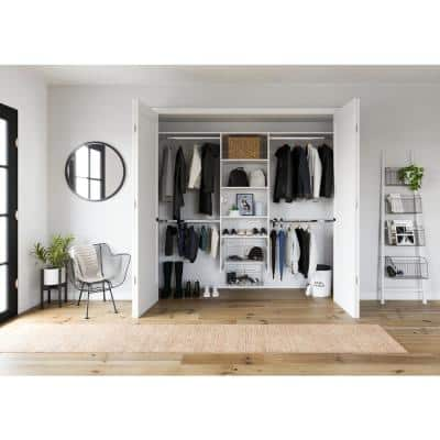 48 in. W - 96 in. W White Entryway Wood Closet System