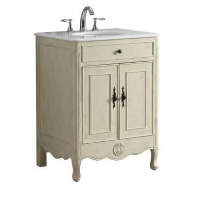 Provence 26 in. W x 21.75 in. D Vanity in Cream with Marble Vanity Top in White with White Basin