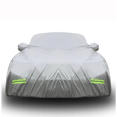 185 in. x 70 in. x 60 in. Heavy-Duty 190T Silver Polyester Waterproof Car Cover