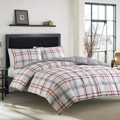 Portage Bay 3-Piece Beige Plaid Cotton Full/Queen Comforter Set