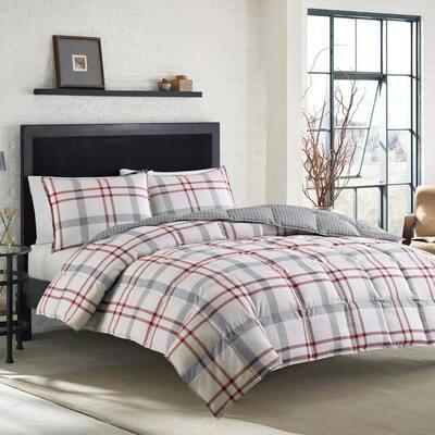 Portage Bay 2-Piece Beige Plaid Cotton Twin Duvet Cover Set