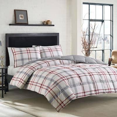 Portage Bay 3-Piece Beige Plaid Cotton King Duvet Cover Set