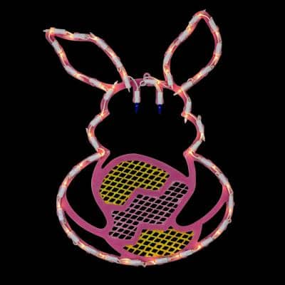 16.5 in. Lighted Pink Bunny with Easter Egg Window Silhouette Decoration