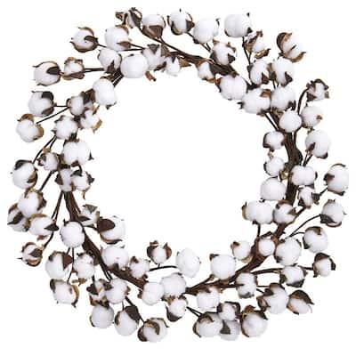 20 in. Cotton Ball Wreath