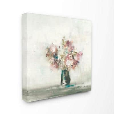"""30 in. x 30 in. """"Muted Subtle Pink Flowers in a Vase Painting"""" by Artist Third and Wall Canvas Wall Art"""