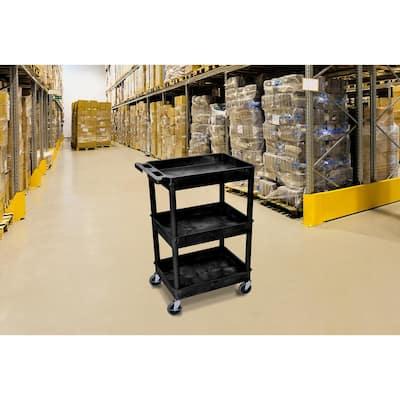 24 in. x 18 in. 3 Tub Shelf Plastic Cart, 4 in. Casters in Black