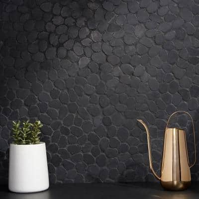 Countryside Sliced Round 11.81 in. x 11.81 in. Black Floor and Wall Mosaic (0.97 sq. ft. / sheet)