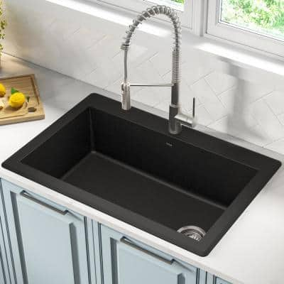 Forteza All-in-One Drop-In/Undermount Granite Composite 33 in. 1-Hole Single Bowl Kitchen Sink in Black