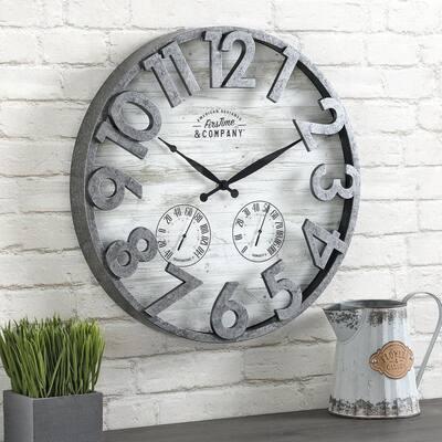 18 in. Shiplap Outdoor Wall Clock