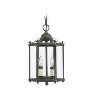 Bretton 7.25 in. 2-Light Bronze Traditional Classic Semi-Flush Convertible Pendant with Clear Glass Panels