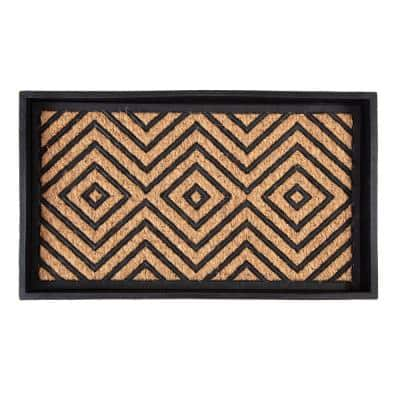 24.5 in. x 14 in. x 1.5 in. Natural & Recycled Rubber Boot Tray with Diamond Coir and Rubber Insert