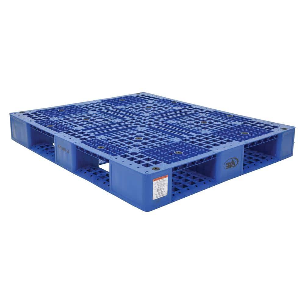 Vestil 48 in. x 40 in. x 6 in. Blue Plastic Pallet/Skid-PLP2-4840-BLUE - The Home Depot
