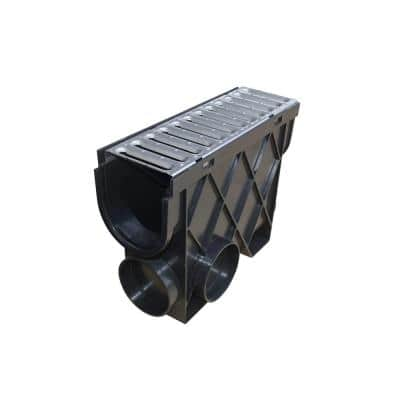 Storm Drain 4.5 in. x 13.25 in. Inline Basin Complete with Galvanized Grate