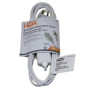 6 ft. 16/2 Indoor Cube Tap Extension Cord, White