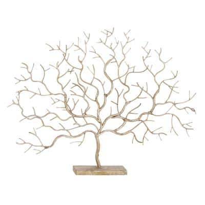 Silver Metal Contemporary Tree Sculpture
