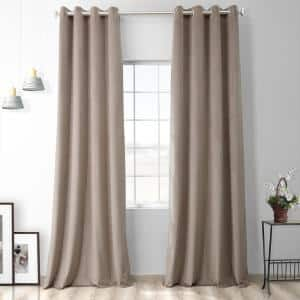 Exclusive Fabrics Furnishings Gallery Taupe Velvet Rod Pocket Blackout Curtain 50 In W X 108 In L Vpyc161209108gr The Home Depot