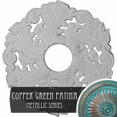 1-3/4 in. x 19-5/8 in. x 19-5/8 in. Polyurethane Orrington Ceiling Medallion, Copper Green Patina