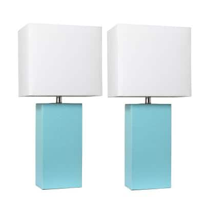 21 in. Modern Aqua Leather Table Lamps with White Fabric Shades (2-Pack)