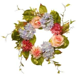 23 in. Dahlia, Hydrangea and Rose Wreath
