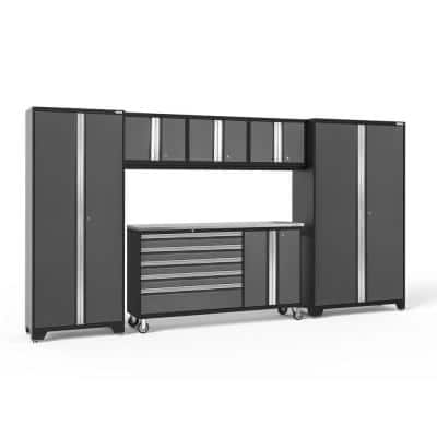 Bold Series 6-Piece 24-Gauge Stainless Steel Garage Storage System in Charcoal Gray (144 in. W x 77 in. H x 18 in. D)