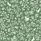 Fox & Hare Forest Green Paper Pre-Pasted Strippable Wallpaper Roll (Covers 56 Sq. Ft.)