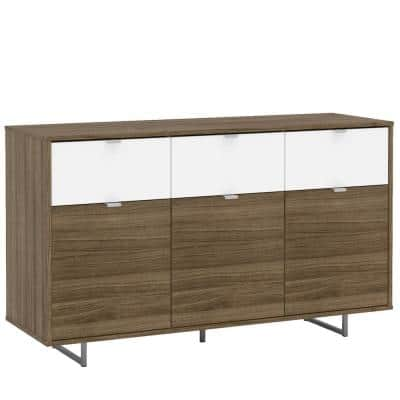 Hamilton Walnut and White Sideboard with 3-Drawers and 3-Doors