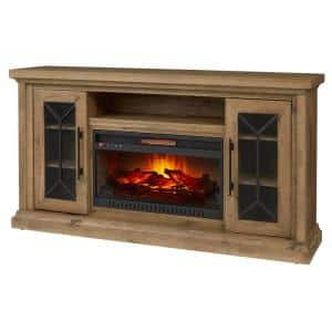 Madison 68 in. Media Console Infrared Electric Fireplace in Natural Rustic Oak