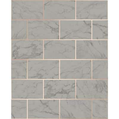 Mirren Grey Marble Subway Tile Paper Peelable Roll (Covers 56.4 sq. ft.)