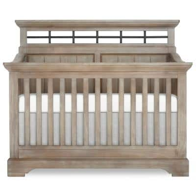 Empire Windsor Oak Grey 5-in-1 Convertible Crib with Metal Elements I Green Guard Certificated
