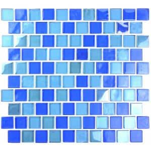 Landscape Horizon Blue Square Mosaic 1 in. x 1 in. Glossy Glass Wall Pool and Floor Tile (0.84 Sq. ft.)