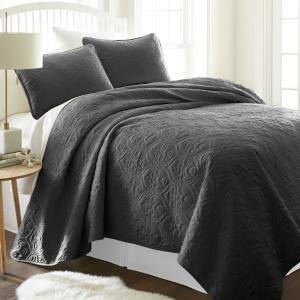 Damask Gray Microfiber King Performance Quilted Coverlet Set