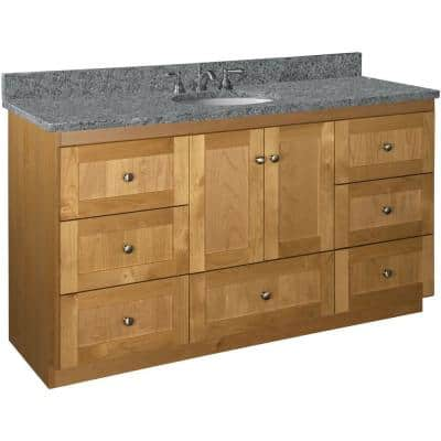 Shaker 60 in. W x 21 in. D x 34.5 in. H Simplicity Vanity Center Basin with Side Drawers in Natural Alder