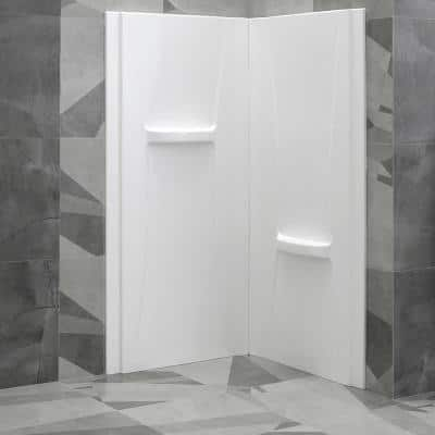 33 in. x 33 in. x 73 in. 2-Piece Direct-to-Stud Corner Shower Wall Set in White