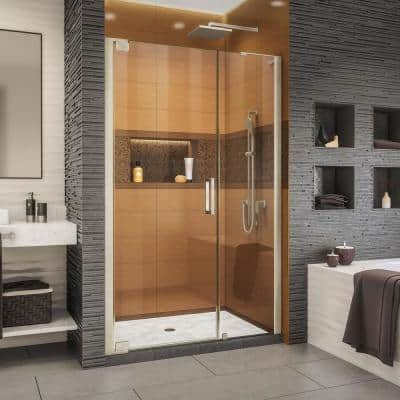 Elegance-LS 43 - 45 in. W x 72 in. H Frameless Pivot Shower Door in Brushed Nickel