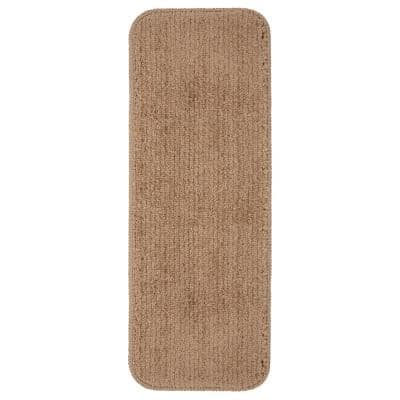 Softy Collection Beige 9 in. x 26 in. Rubber Back Stair Tread Cover (Set of 7)