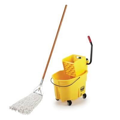 Jobsite #32 Heavy-Duty Wet String Mop with WaveBrake 35 Qt. Mop Bucket w/Wringer Combo
