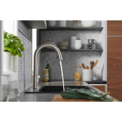 Sensate Single-Handle Pull-Down Sprayer Kitchen Faucet with KOHLER Konnect in Vibrant Stainless