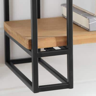 30 in. H x 24 in. W x 8 in. D Wood and Black Metal Wall-Mount Bookshelf