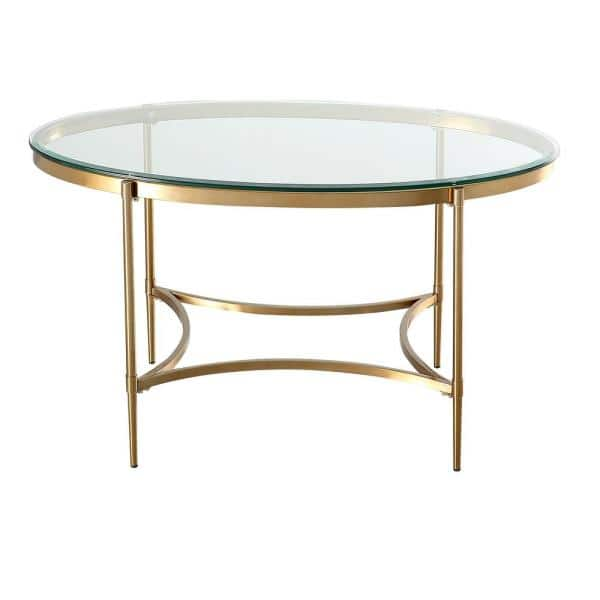 Boyel Living 42 In Brushed Gold Round, 42 In Round Glass Table Top
