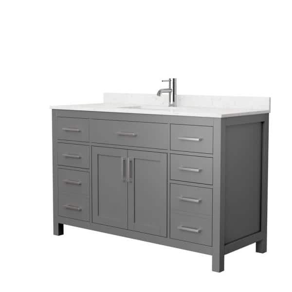 Wyndham Collection Beckett 54 In W X 22 In D Single Vanity In Dark Gray With Cultured Marble Vanity Top In Carrara With White Basin Wcg242454skgccunsmxx The Home Depot