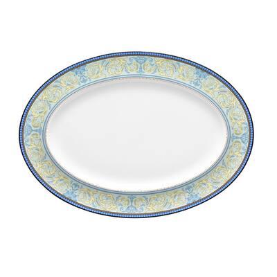 Menorca Palace Blue/Yellow White Bone China Medium Oval Platter 14 in.