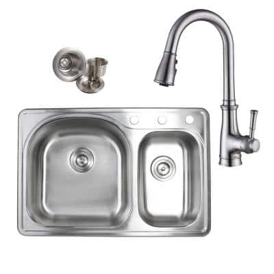 Topmount Drop-In 18-Gauge Stainless Steel 33 in. x 22 in. 3-Hole 70/30 Offset Double Bowl Kitchen Sink with Faucet