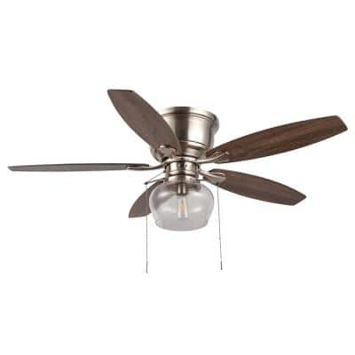 Stoneridge 52 in. LED Indoor/Outdoor Brushed Nickel Hugger Ceiling Fan with Light Kit
