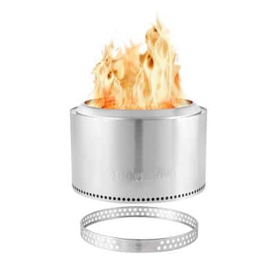 Yukon 27 in. Round Stainless Steel Wood Burning Fire Pit Plus Stand