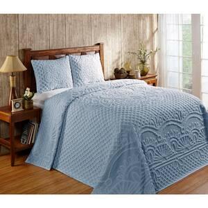 Trevor Collection 3-Piece Blue Queen 100% Cotton Tufted Chenille Medallion Design Bedspread Set