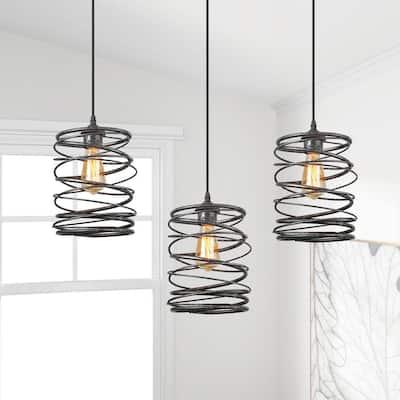 Lavie 8 in. 1-Light Mottled Black Industrial Pendant Light with Spiral Iron Lantern Cage